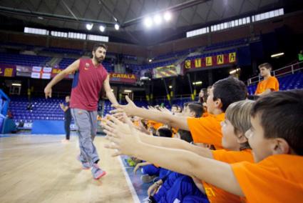 Entrenament amb jugadors del Barça