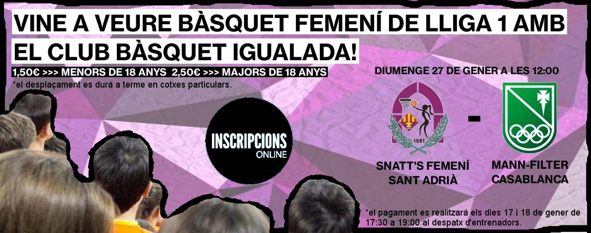 Organitzem una sortida per a veure el millor bàsquet femení a Sant Adrià del Besós!